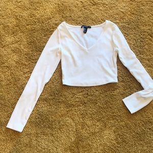 Forever 21 white long sleeve crop top